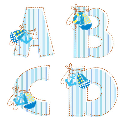 Fabric striped marine patchwork alphabet  Letter A, B, C, D Vector