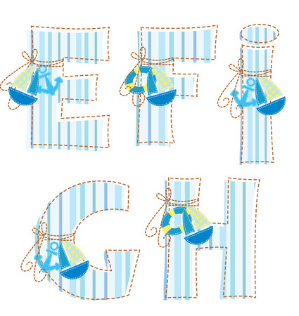 Fabric striped marine patchwork alphabet  Letter E, F, G, H,   Vector