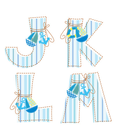 applique: Fabric striped marine patchwork alphabet  Letter J, K, L, M Illustration