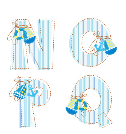 Fabric striped marine patchwork alphabet  Letter N, O, P, Q Vector