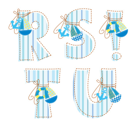 homespun: Fabric striped patchwork alphabet  Letter R, S, T, U,
