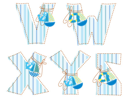 Fabric striped marine patchwork alphabet  Letter V, W, X, Y, Z Vector