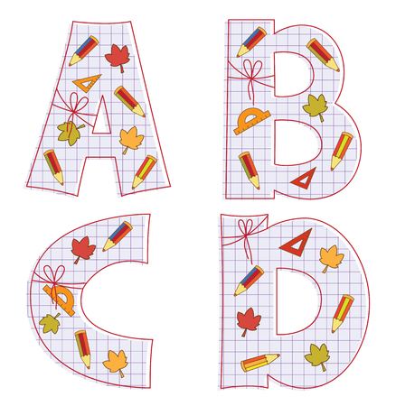 pensils: school paper alphabet of sheet with colorful pensils and leaves. Letter A, B, C, D