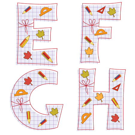 pensils: school paper alphabet of sheet with colorful pensils and leaves. Letter E, F, G, H