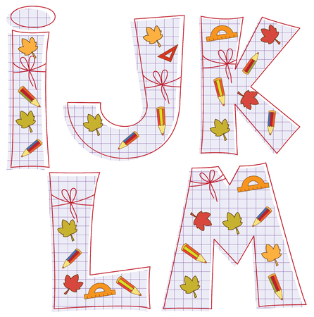 pensils: school paper alphabet of sheet with colorful pensils and leaves. Letter I, J, K, L, M