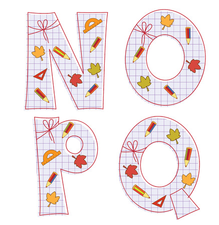 school paper alphabet of sheet with colorful pensils and leaves. Letter N, O, P, Q Illustration