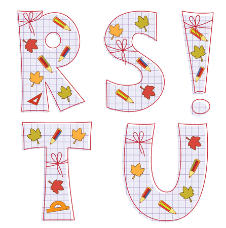 pensils: school paper alphabet of sheet with colorful pensils and leaves. Letter R, S, T, U, exclamation mark