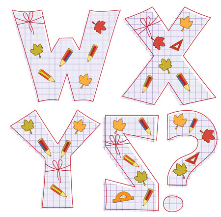 pensils: school paper alphabet of sheet with colorful pensils and leaves. Letter W, X, Y, Z,question mark