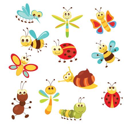 oruga: Conjunto de insectos de dibujos animados divertidos aislados en blanco Vectores