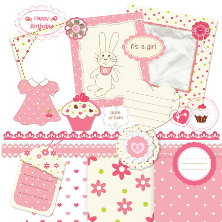 Scrapbook set for baby girl Vector