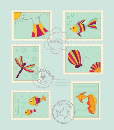Set of baby post stamps Vector