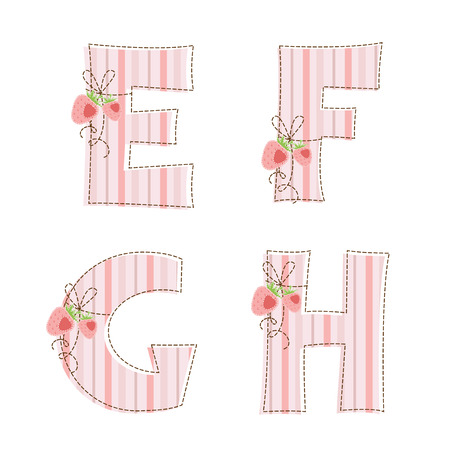 Fabric striped patchwork alphabet  Letters E, F, G, H Vector