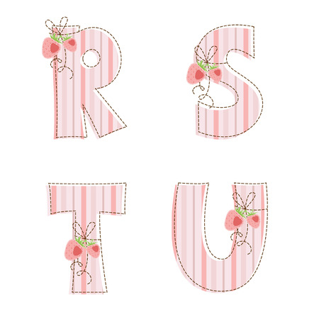 Fabric striped patchwork alphabet  Letters R, S, T, U Vector