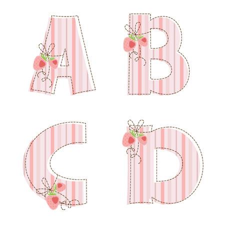 生地ストライプ パッチワーク アルファベット文字 A、B、C、D