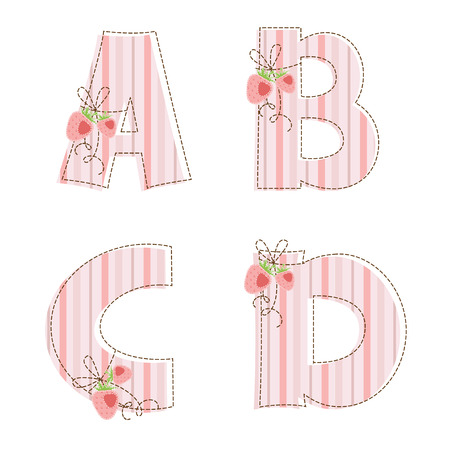 Fabric striped patchwork alphabet  Letters A, B, C, D Vector