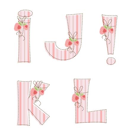homespun: Rayas Tela patchwork alfabeto letra I, J, K, L,