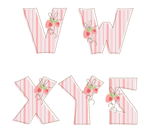 Fabric striped patchwork alphabet  Letters  V, W, X, Y, Z Vector