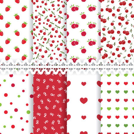 Set of floral and berry seamless patterns