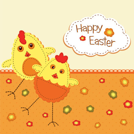 passover and easter chick: funny Easter background with stylized chicks Illustration