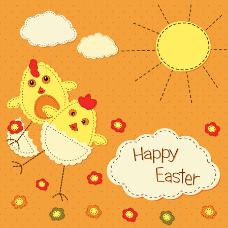 kid Easter background with stylized chicks Vector