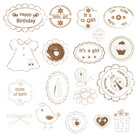 Set of baby girl stamps for scrapbooking Vector