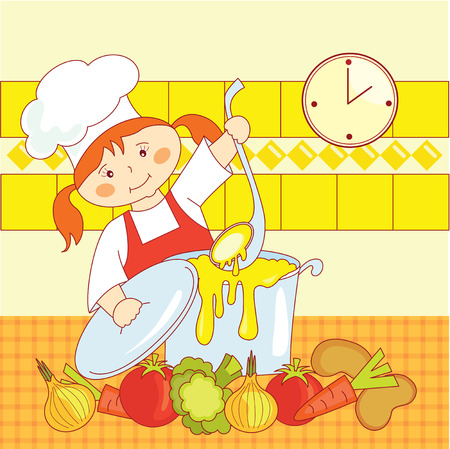 little girl chef cooks soup Vector