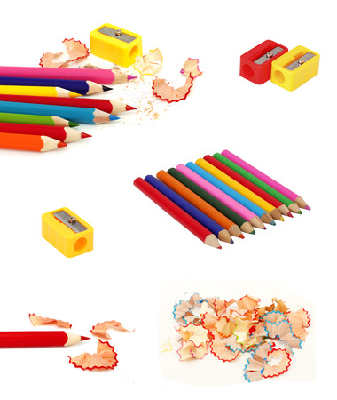 collage of pencils, sharpeners and wood  chips photo