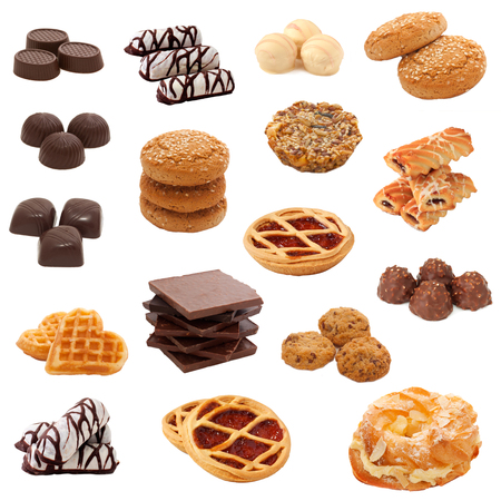 Collection of cookies,biscuits and chocolates over white  Collage  photo