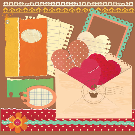 Set of vintage scrapbook elements Vector