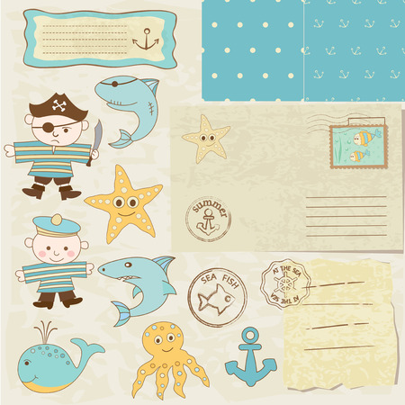 Set of sea scrapbook elements for boys Vector