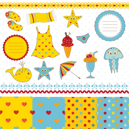 Set of beach and sea elements for scrapbook Vector