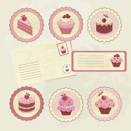 Vintage set with cakes for scrapbook Vector