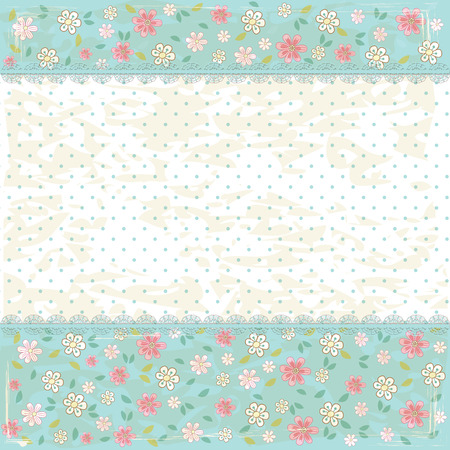 text pink: Floral shabby vintage background Illustration