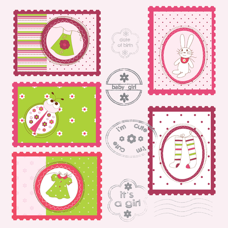 frill: Set of Baby Girl Post Stamps Illustration