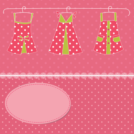 frill: Girl vector  background with dresses