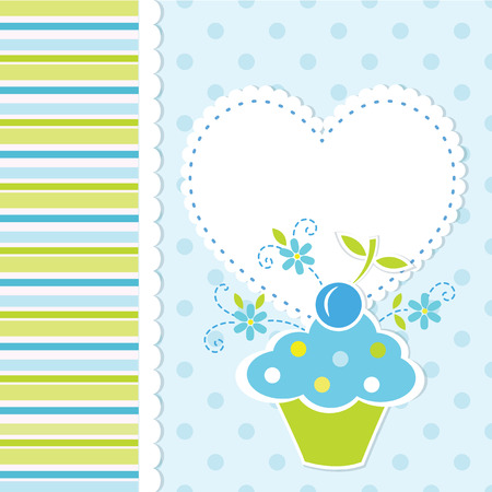 baby boy shower: Baby background with cupcake Illustration