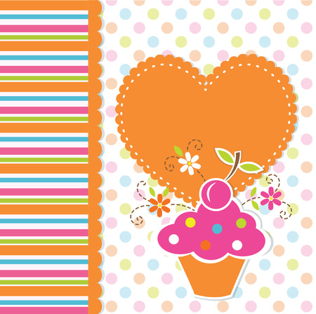 Cute baby background with cupcake Vector