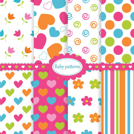 Set of kid seamless patterns Vector