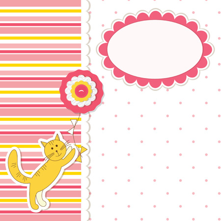 Baby girl shower with cat Vector
