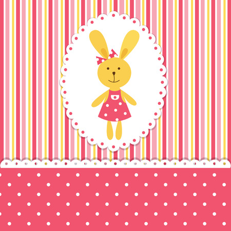 Baby background with rabbit girl