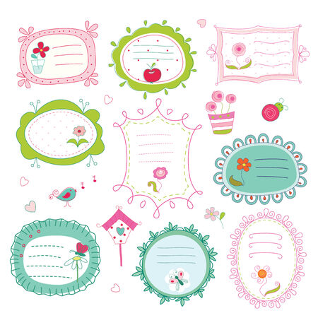 Set of cute doodle frames Vector