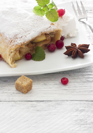 Apple strudel on white plate over white  photo