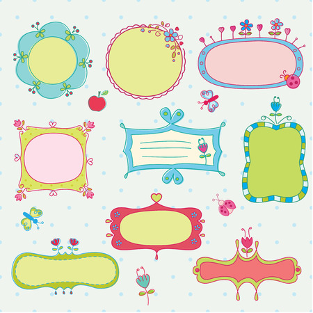 Set of fairy doodle frames Vector
