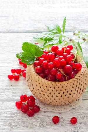 currents: Basket of ripe red currents over white wood