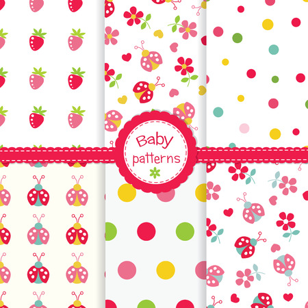 cute baby girls: Set of  cute seamless patterns for baby girls Illustration