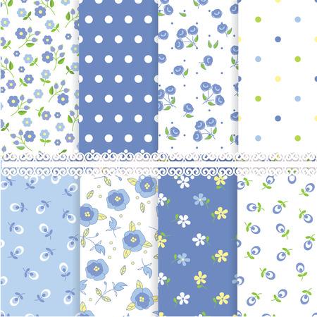 petites fleurs: Ensemble de modèles sans couture floral abstrait