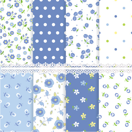 small flowers: Set of floral abstract seamless patterns Illustration