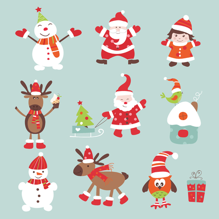 Set of vintage Christmas scrapbook elements Vector