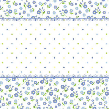 Romantic background with floral and polka dots patterns
