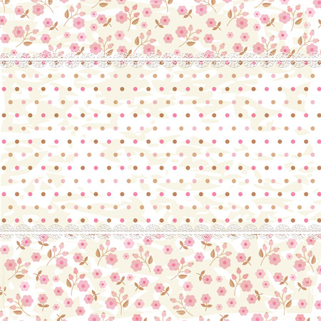 shower curtain: Vintage background with floral and polka dots patterns